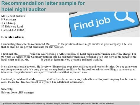 Hotel Auditor by Hotel Auditor Recommendation Letter
