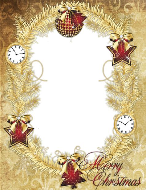 gold png merry christmas photo frame with stars