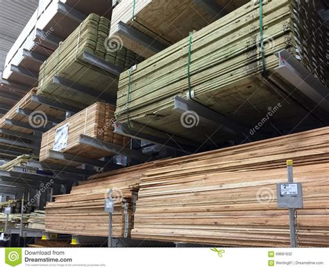 timber selling at home improvement store editorial