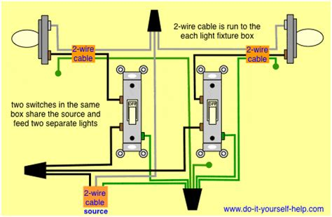 how to wire two lights with two switches in one box