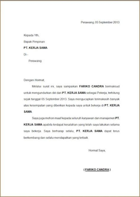contoh surat resign via email 28 images contoh resign letter bahasa