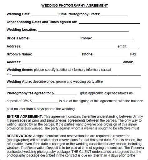 Simple Photography Contract Template   download