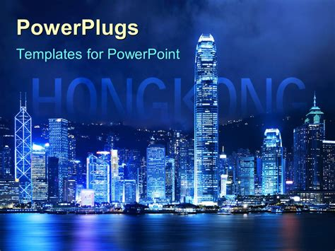 powerpoint template victoria harbor of hong kong at night