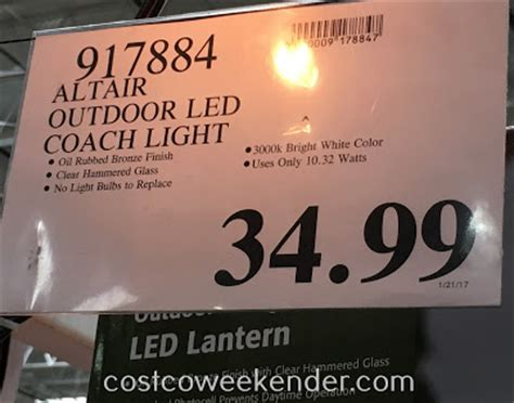 altair outdoor led coach light altair outdoor led coach lantern costco weekender