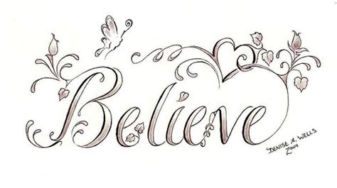 feminine tattoo fonts quot believe butterfly quot design by a