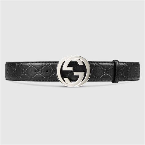 Guc Ci Silver White guccissima belt with interlocking g gucci s casual