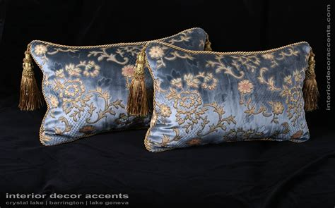 Designer Accent Pillows by Scalamandre Sculpted Silk Velvet Jofa Accent