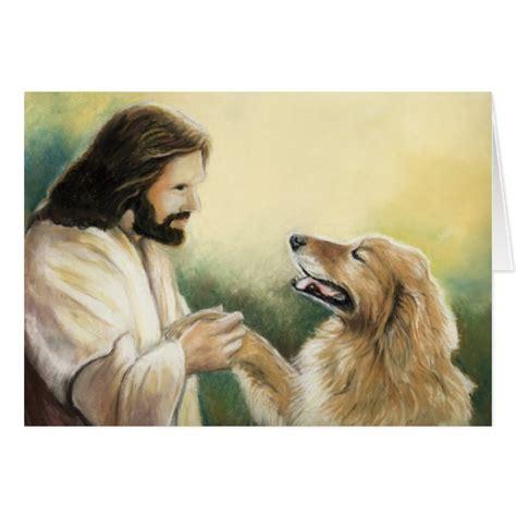 jesus in dogs jesus and golden retriever greeting card zazzle