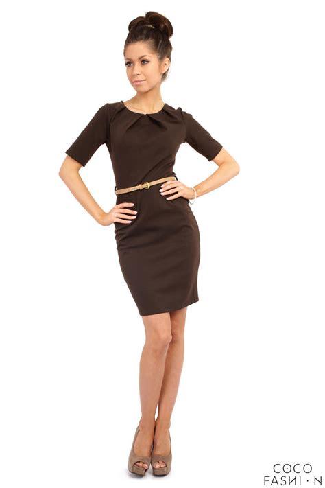 brown pleated neckline belted shift dress
