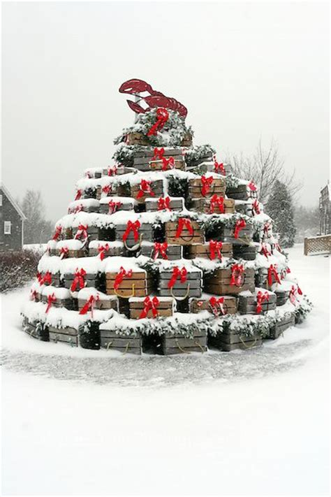 lobster trap christmas tree in the snow home sweet