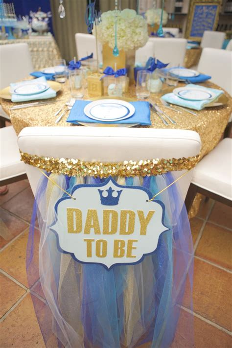 royal blue and gold baby shower chair chair back sign for baby shower to be sign tulle