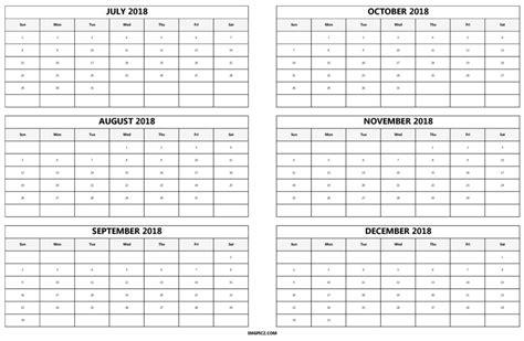 Calendar 6 Month Printable 6 Month 2018 Calendar Printable Half Year One Page