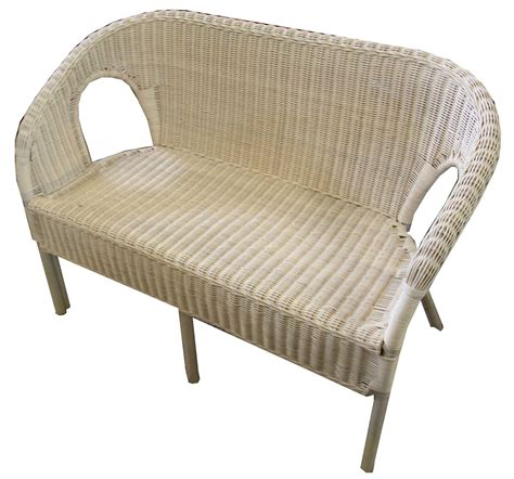 new 2 seater ivory wicker conservatory chair sofa seat set