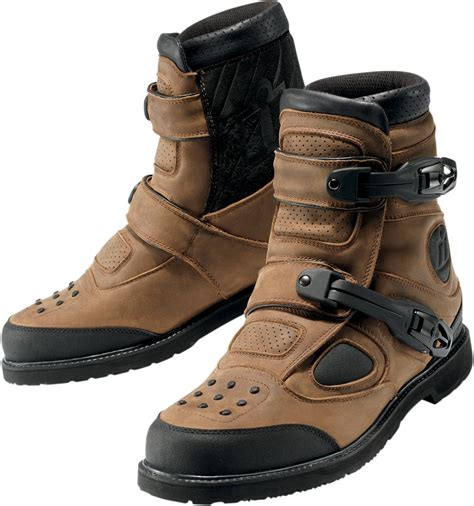 mc ride shoes icon patrol waterproof motorcycle riding boots brown
