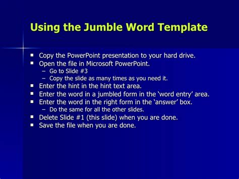 Word Jumble Template Copy Template Powerpoint