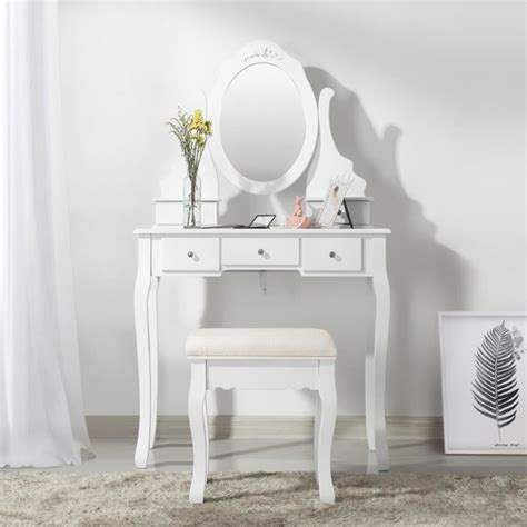 Songmics® Coiffeuse Table de maquillage Avec 1 miroir, 5