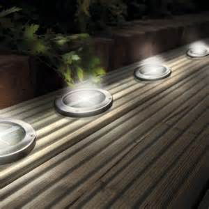 Led Patio Lighting Stainless Steel Solar Led Light Deck Ground Lights A Set Of Four Lights Patio Light