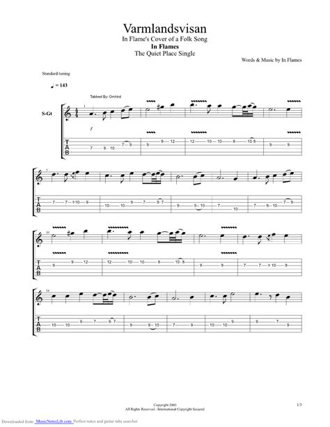 The Place In Flames Tab Varmlandsvisan Guitar Pro Tab By In Flames Musicnoteslib