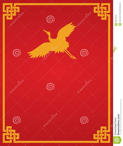 chinese book layout design chinese crane red background stock vector image 46214914