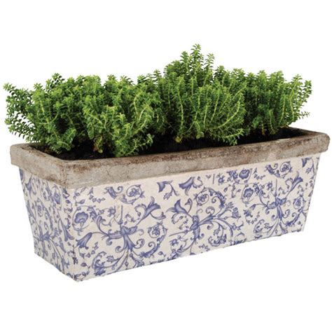 blue planter ditsy ceramic blue and white planter by garden selections