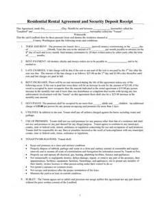 Rental Deposit Receipt Template by Residential Rental Agreement And Security Deposit Receipt