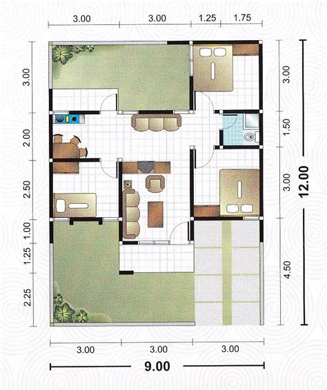 layout rumah lebar 12 denah lebar 9 meter gambar rumah idaman com