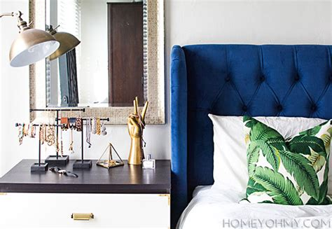 Blue Velvet Headboard by Bedroom Progress Homey Oh
