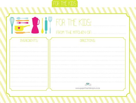 printable children s recipe cards printable recipe cards for kids www imgkid com the