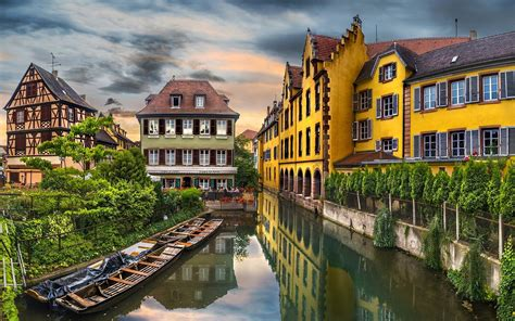 boat building europe landscape city canal trees building water reflection