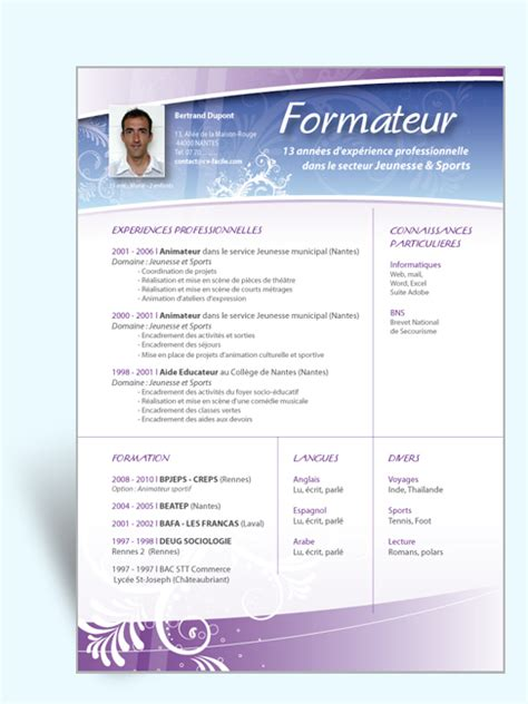 Modèle Cv by Resume Format Cv Enseignant Vacataire