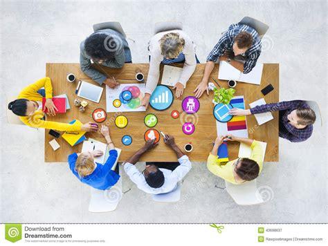 photo design team design team planning with social media symbols stock