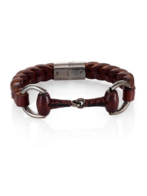 Gucci Braided Leather & Sterling Silver Horse Bit Bracelet in Black for Men   Lyst