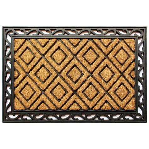 Coir And Rubber Doormat - trafficmaster scroll 24 in x 36 in coir and