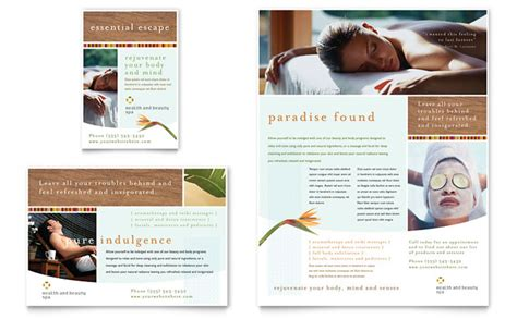 salon brochure templates health spa flyer ad template design