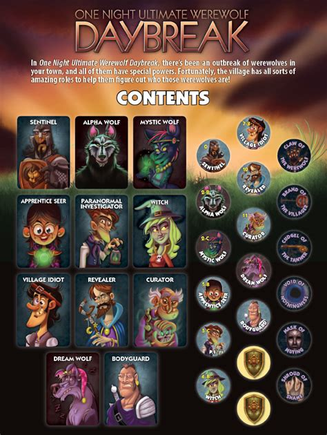 ultimate werewolf printable cards rules reference card posted and first daybreak review