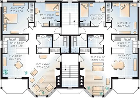 family friendly house plans multi family plan 64952 at familyhomeplans com