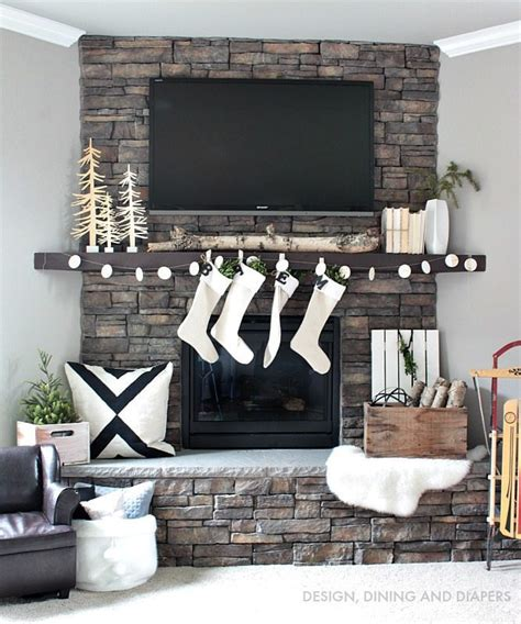 fireplace garland with nordic christmas mantel and diy garland taryn whiteaker