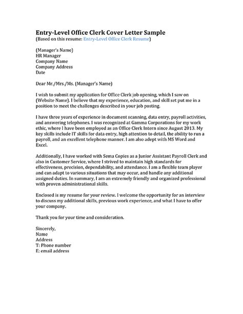 Clerk Cover Letter Format Office Clerk Cover Letter Sles Resume Genius