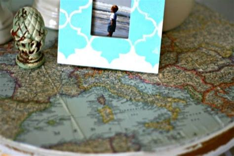 Decoupage With Maps - decoupage ideas vintage map table top