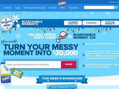 Clorox Sweepstakes - clorox bleachable moments sweepstakes
