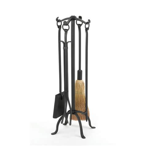 woodfield black wrought iron 4 fireplace tool set