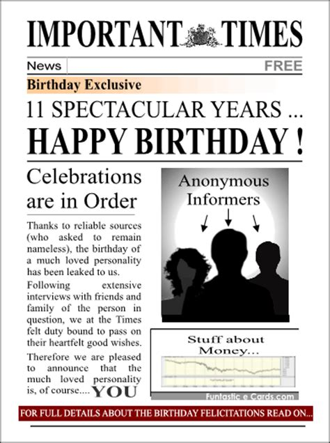 Newspaper Birthday Card Happy 19th Work Anniversary Quotes Quotesgram