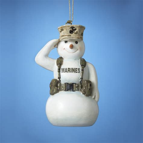 united states marine corps saluting snowman christmas