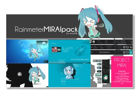 facebook themes skin anime rainmeter mirai pack old pack by maddk on deviantart