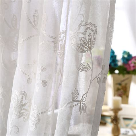 white pattern drapes white floral pattern sheer curtains of embroidery style
