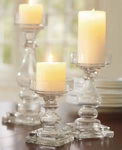 Glass Pillar Candle Holders Clear Glass Square Base Pillar Holders Traditional By