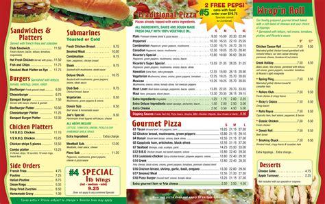 menu design ottawa ottawa ricardo s pizza