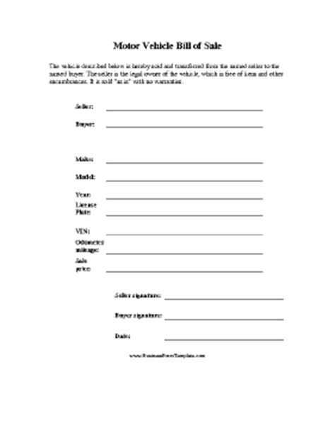 motor vehicle form template motor vehicle bill of sale template