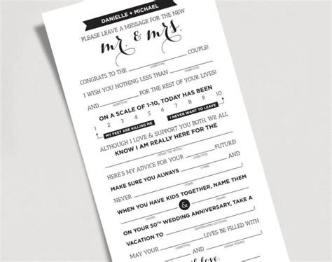 And Groom Advice Cards Template by Wedding Mad Libs Printable Template Kraft Sign Mr And