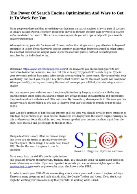 Search Engine Optimization Articles 1 by The Power Of Search Engine Optimization And Ways To Get It